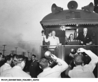 President Truman's Train and Crowd at Union Station, Terre Haute, Indiana