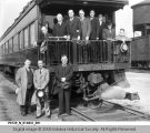 New York Central Railroad President and Officers around Caboose