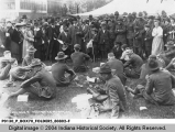 Soldiers Eating Lunches Presented to Them by the Salvation Army