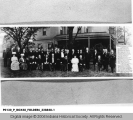 President Theodore Roosevelt, Vice President Charles W. Fairbanks, and large group at Fairbanks Residence