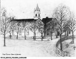 Drawing of the first Christ Church Episcopal on the Circle