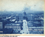 Aerial View of the Indiana State Capitol, West Market Street, and the Cyclorama Exhibition Building,