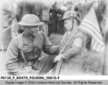 Scene at Military Park - World War I Soldier with Boy on Welcome Home Day