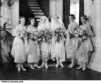 Sisters Margaret and Alice Landon with Their Bridesmaids on Their Wedding Day in June 1920