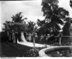 Wedding Party at the Altar in the Oldfields Garden During the Landon Sisters Wedding in June 1920