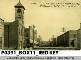 High St. Looking East, Redkey, Indiana, Showing City Building