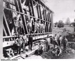 Matthews, Indiana Covered Bridge in Process of Moving into Place after 1913 Flood