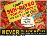 Kemp's Sun-Rayed Tomato Juice New York's Largest Seller