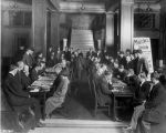 Y.M.C.A. building, interior, men playing board game, 1910 (Bass #80783-F)