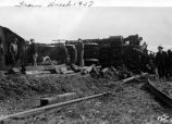 Train derailment, Engine no. 4913 and Pullmans, 1937 (Bass #142530-K)