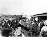 Wreck of passenger train, crowd (Bass #323055-1)