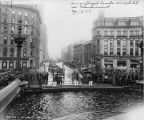 Exhibit, camouflaged army trucks at Monument Circle, April 17, 1919 (Bass #66140-F)
