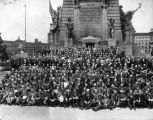 Soldiers and Sailors Monument, group posed in front (Bass #20571)