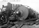 Train derailment, Engine no. 4913 and Pullmans, close-up of engine, 1937 (Bass #142530-O)