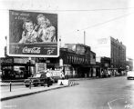 Kentucky Avenue street scene, Central Garage, Coca Cola sign, 1945 (Bass #264250-F-3)