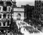Welcome Home parade, troops passing through Victory Arch, marching band, Meridian Street, 1919 (Bass