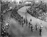 G.A.R. parade, Monument Circle street scene, 1921 (Bass #75939-F)