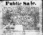 Announcement of estate sale, items listed include slaves, Roger Clements residence, document dated 1835