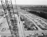 Indianapolis Power and Light Elmer W. Stout Station construction, easterly view, material storage yards,