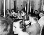 Wedding party, daughter of Nicholas H. Noyes, view of guests at table, 1938 (Bass # 102455F-22)