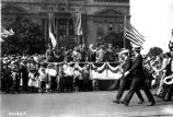 Rainbow veterans convention, Generals Pershing and Gourroud, crowd of children in front of reviewing