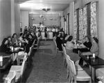 Indiana Bell, interior, women in lunch room or coffee shop, 1947 (Bass # 268629)