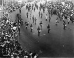 G.A.R. parade, Boy Scout drum band, Monument Circle street scene, 1921 (Bass #75946-F)