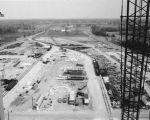 Indianapolis Power and Light, Elmer W. Stout Station construction, easterly view, material storage yards,