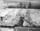 Indianapolis Power and Light Elmer W. Stout Station construction, southerly view from Unit 6 Roofs, 1969