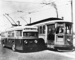 East 10th streetcar, no. 472, and bus no. 527, 1939 (Bass #245151)