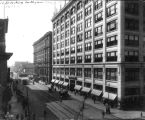 Illinois Street, looking south from Market Street, Indiana Refrigeration Co., 1912 (Bass #27794)