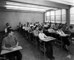 Shortride High School, interior, students, 1956 (Bass #291942F-2)