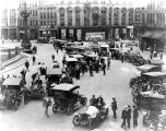 Monument Circle, cars on circle, 1908 (Bass #C-516)