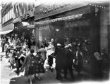 Bartlett clothing store, crowd on sidewalk, 1926 (Bass #96397-F)