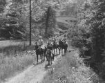Ladywood High School, girls riding horses, 1927 (Bass #202547)