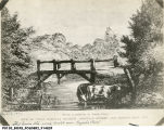 Meridian Street Bridge, Pogue's Run, print, 1838 (Bass #91482F)