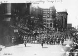 Welcome Home Day, Meridian Street, soldiers marching, 1919 (Bass #50786-F)