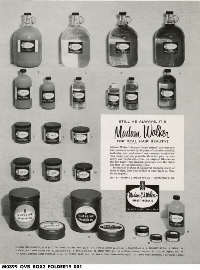 Madam C J Walker Hair Products Advertisement Madam Walker Indiana Historical Society Digital Images